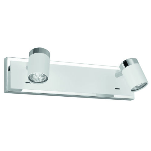 Athena spot 2-lichts - plafondlamp met twee spots - GU10 balk + sch -  Wit + Chroom zonder lampen - Serie Athena - Spots - High Light - S738700