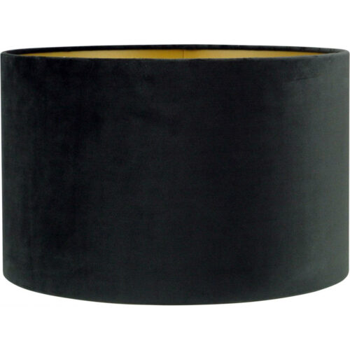 Lampenkap fluweel zachte stof - cilinder kap Alice - zwart goud - Ø25-25-16 cm - HIGH LIGHT -  Verkrijgbaar in verschillende afmetingen zie onze webshop categorie Lampenkappen -  O4422 - 01