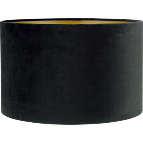 Lampenkap fluweel zachte stof - cilinder kap Alice - zwart goud - Ø30-30-18 cm - HIGH LIGHT -  Verkrijgbaar in verschillende afmetingen zie onze webshop categorie Lampenkappen -  O4423 - 01