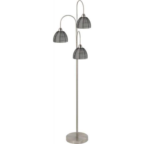 Vloerlamp Whires 3-lichts Nikkel Mat + kapjes Zwart - Serie Whires - High Light - V424601