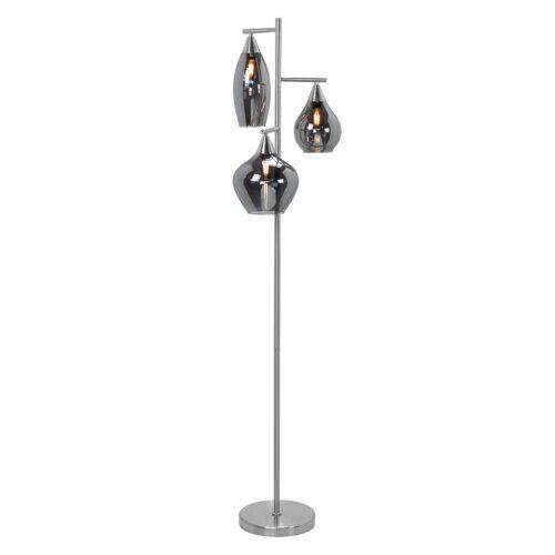 Vloerlamp Cambio - nikkel mat - 3 lichts glas Smoke - transparant rookglas - incl -  LED snoerdimmer - 160 cm hoog - excl -  Lichtbron 3 x E14 maximaal 40 Watt - HIGH LIGHT -  De drie glazen kelken hebben elk een andere vorm en afmeting -  Diameter kelken van 12-20 cm - hoogte van 18-25 cm -  De breedte van deze sfeervolle vloerlamp is 35 cm -