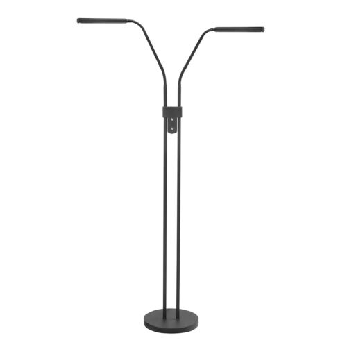 Vloerlamp - leeslamp Murcia 2-lichts -  Deze functionele strakke leeslamp heeft twee armen - mat zwart metaal - inclusief twee dimmers - hoogte 145 cm - geintegreerde LED lichtbron - modern - HIGH LIGHT -  De strakke moderne leeslamp is uitgevoerd met in elke arm een ingebouwde langwerpige felle LED lamp van 6