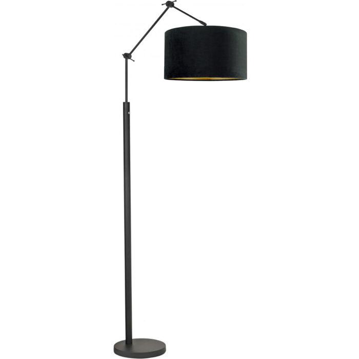 Vloerlamp Magna mat zwart van High Light - verstelbaar - met pulsdimmer op de lamp - 170 cm hoog -  Inclusief zacht fluwelen stoffen lampenkap Cylinder San Remo met een diameter van 45 cm en een hoogte van 25 cm - kleur zwart met mat goden binnenzijde -  E27 LED - HIGH LIGHT -  E27 LED - maximaal 60 Watt - de lichtbron is exclusief -  De ronde vloerplaat heeft een diameter van 28 cm -  De lamp is draaibaar en kantelbaar -  Binnen de Magna serie kunt u kiezen voor verschillende vormen en kleuren lampenkappen -  Zoek in onze webshop op 'Magna' -  V442101+O442601