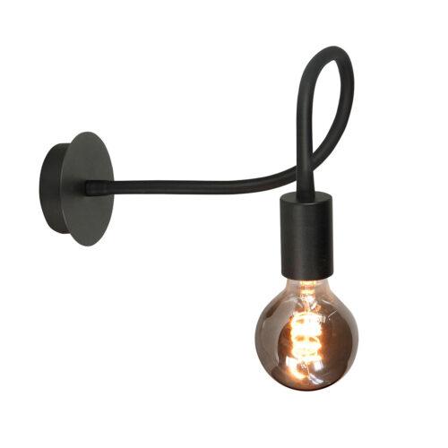 Wandlamp Flex 1-lichts - mat zwart van HIGH LIGHT -  Deze moderne industriële wandlamp is voorzien van een flexibele buis met lengte 50 cm - u kunt de lamp daardoor buigen -  De diameter van de mat zwarte aluminium wandplaat is 10 cm -  Deze moderne wandlamp is ook als plafond lamp te plaatsen -  Hij is geschikt voor een lichtbron met E27 fitting van maximaal 40 Watt (exclusief) -  Ook zeer geschikt voor de mooie dimbare LED filament lampen (kijk in onze webshop bij LED lichtbronnen) -  Deze wand lamp uit de Flex serie van High Light is dimbaar met een externe wanddimmer (exclusief) -  De wandlamp wordt geleverd inclusief snoer met schakelaar -  W3626 - 01
