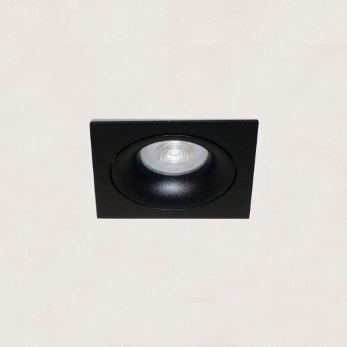 "Inbouwspot - DL - zwart 1-lichts vierkant ""Alice"" kantelbaar GU10 35W IP20 - ART DELIGHT - DL 921 ZW"