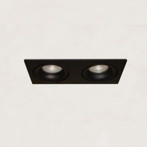 "Inbouwspot - DL - 2-lichts zwart rechthoek ""Alice"" kantelbaar 2x GU10 35W IP20 - ART DELIGHT - DL 922 ZW"