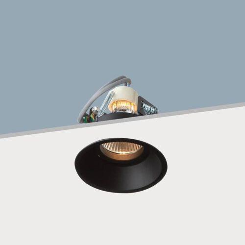 """Inbouwspot - verzonken plafondspot - 8 -5 cm - zwart rond verdiept """"Candice"""" GU10 - max 35W - klasse 2 - ART DELIGHT - IBS MR16DH ZW"""