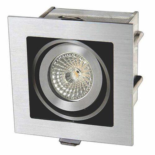 """Inbouwspot - vierkante plafondspot - mat staal 1-lichts """"Visq""""  - 10 x 10 cm - LED - GU10 - spot is kantelbaar. ART DELIGHT. De benodigde LED GU10 lichtbron is exclusief. Het materiaal is aluminium. De spot is 10 cm lang x 10 cm breed x 9 -5 cm hoog. De zaagmaat: 88x88mm - de inbouwdiepte: 95mm. De spot is dimbaar met een externe wanddimmer - niet inbegrepen.  - IBS R1010H"""
