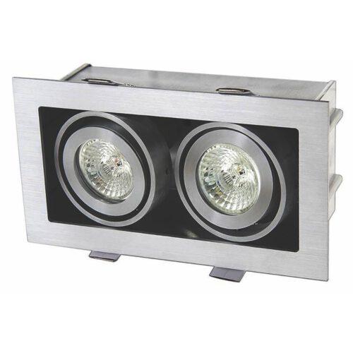 """Inbouwspot - 2-lichts plafondspot - mat staal 2-lichts """"Visq"""" rechthoekige dubbele spots - LED - GU10 - spots zijn kantelbaar - ART DELIGHT. De benodigde LED GU10 lichtbronnen zijn exclusief. Het materiaal is aluminium. De spot is 18 cm lang x 10 cm breed x 9 -5 cm hoog. De zaagmaat: 168x88mm - de inbouwdiepte: 95mm. De spot is dimbaar met een externe wanddimmer - niet inbegrepen.  - IBS R1011H"""