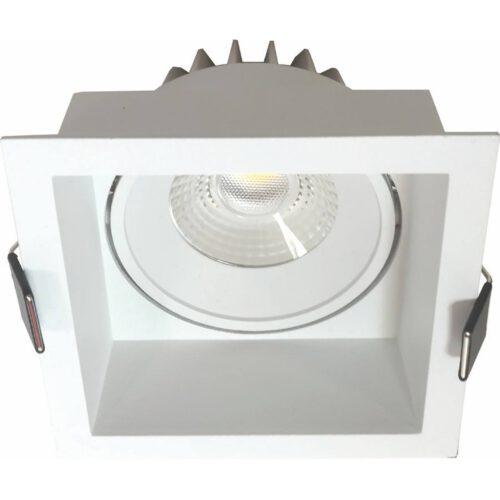 """Badkamerspot of Verandaspot - IP44 inbouwspot wit """"Vibs"""" vierkant LED 10W 900lm 2700K 36º. ART DELIGHT. LED inbouwspot voor de badkamer en op beschutte plaatsen buiten - zoals onder een veranda - afdak of overkapping. De spot is voorzien van geïntegreerd LED lichtbron - LED 10W 2700K 900lm. Deze inbouwspot is dimbaar. De spot zit verzonken in het armatuur en is kantelbaar.  Deze spot heeft een inbouwdiepte van 85 mm. Deze badkamerspot of verandaspot is exclusief de benodigde driver. Deze driver kunt u direct in onze webshop erbij bestellen: Driver Tridonic 10w Dimbaar - artikelnummer 87500273. U heeft 1 driver per spot nodig. - IBS R6215W"""