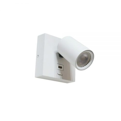 Wandspot - wandlamp - leeslamp - wit 1-lichts 11 -5x11 -5cm van aluminium - incl. lichtbron GU10 6W 2700K - 420 Lumen. Met USB poort en aan/uit schakelaar op het armatuur - Serie Master van ART DELIGHT. De spot is draaibaar en kantelbaar. Een ideale leeslamp voor naast uw bed. Met de USB aansluiting heeft u direct een oplader bij de hand.  - WL MASTER USB WI