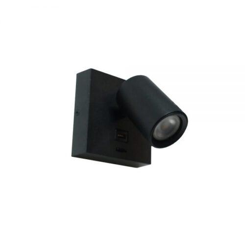 Wandspot - wandlamp - leeslamp - zwart 1-lichts 11 -5x11 -5cm van aluminium - incl. lichtbron GU10 6W 2700K - 420 Lumen. Met USB poort en aan/uit schakelaar op het armatuur - Serie Master van ART DELIGHT. De spot is draaibaar en kantelbaar. Een ideale leeslamp voor naast uw bed. Met de USB aansluiting heeft u direct een oplader bij de hand.  - WL MASTER USB ZW