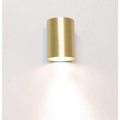 """Wandlamp mat goud 1-lichts """"Roulo1"""" Ø6 -4 x hoogte 9 cm - fitting GU10 - licht schijnt naar beneden - ART DELIGHT. Alleen als downlighter te gebruiken. - WL ROULO1 MG"""