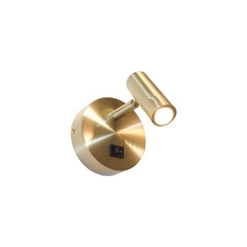 Wandlamp spot - leeslamp - bedlamp - goud 1-lichts ø10x3cm LED 3W 3000K 200lm + schakelaar - ART DELIGHT - WL SIMPLY GG