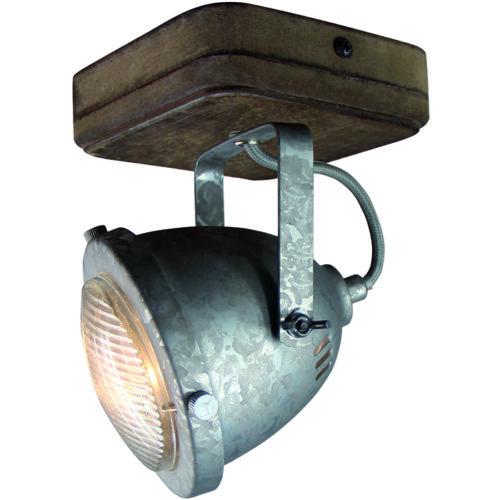 Industriële spot voor plafond en wand. Opbouwspot. 1-lichts Spot 'Woody' Galva/hout FREELIGHT - PL 5201 GV