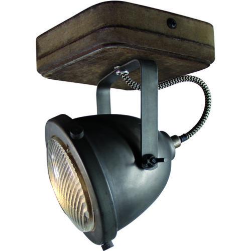 Industriële spot voor plafond en wand. Opbouwspot. 1-lichts Spot 'Woody' Zwart/hout  FREELIGHT - PL 5201 Z