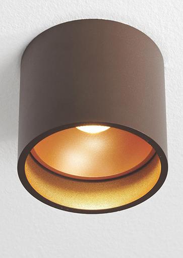 """Plafondspot, opbouwspot, bruin/goud """"Orleans"""" Ø11cm LED, ART DELIGHT. Webo Verlichting showroom lampen online Beuningen bij Nijmegen. Lampen webshop."""
