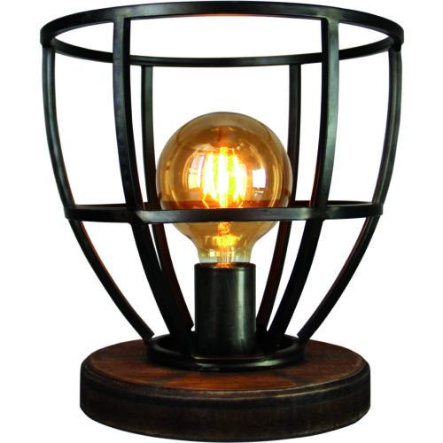 Industriële tafellamp 'Birdie' hoogte 34cm Zwart/IJzer/Hout FREELIGHT - T 5225 Z