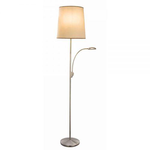 "Vloerlamp staal uPlafondlampighter ""Hugo"" met leeslamp LED inclusief kap - ART DELIGHT"