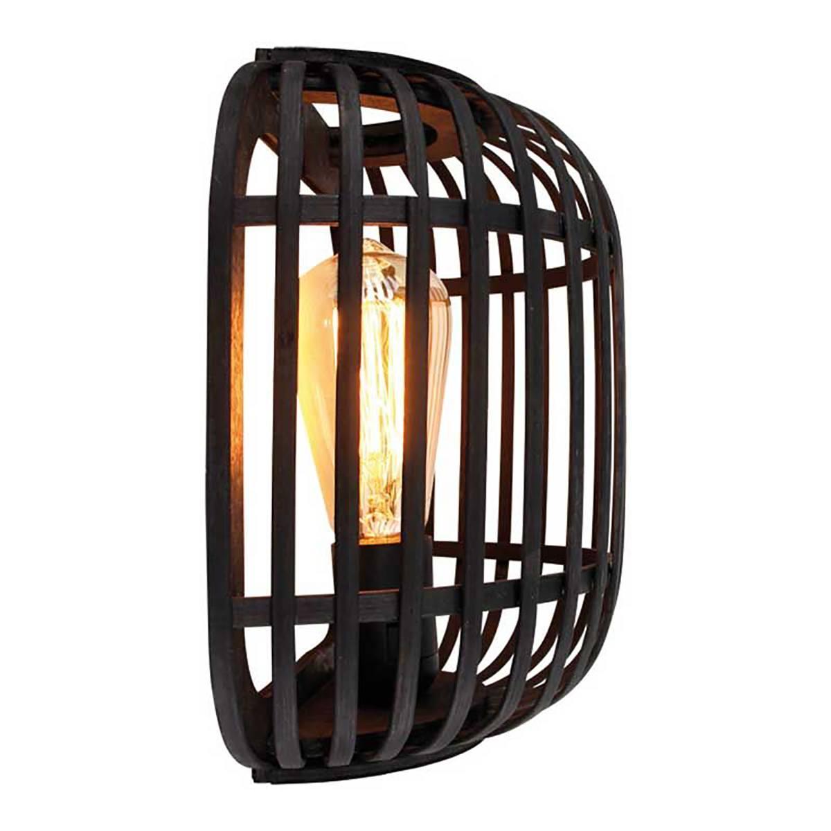 Wandlamp Treccia hout zwart 1-lichts FREELIGHT - W5401Z